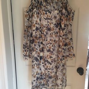 MSK floral cold shoulder print dress